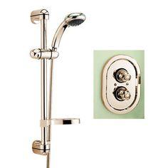 Tre Mercati Roma  Thermostatic Shower Valve with Europa no 2 Shower Kit in Antique Gold finish  https://www.tapwarehouse.com/product/tre-mercati-52470