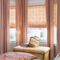 Don't like the colors, but good idea for tall curtains with roller shades