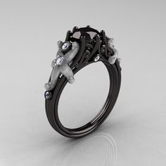 Black Gold Black Diamond Engagement Ring - This is beautiful
