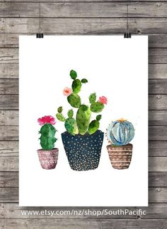 Cacti art print Watercolor #cactus Hand painted by SouthPacific