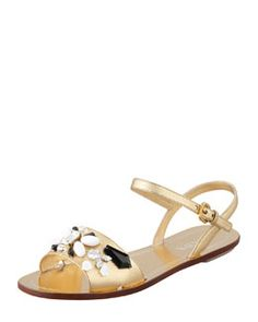 X1KD6 Prada Jeweled Ankle-Strap Flat Sandal