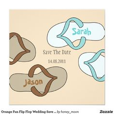 Orange Fun Flip Flop Wedding Save the Date 13 Cm X 13 Cm Square Invitation Card