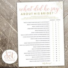 What Did He Say About His Bride - Bride or Groom - printable bridal shower game - gold, pink, glitte Bridal Shower Questions, Bridal Shower Bingo, Bridal Bingo, Printable Bridal Shower Games, Wedding Shower Games, Baby Shower, Bridal Showers, Bridal Shower Invitations, Bridal Games