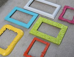 Painted Picture Frames  Bright Colors  Collection of by RetroPops, $32.00
