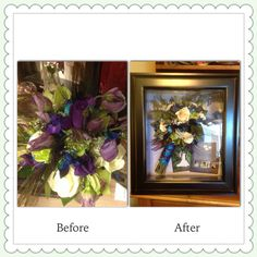 Look at this before and after photo of a wedding bouquet!  I am definitely doing this for my wedding! Flower preservation at its finest. Www.suspendedintimeoflayton.com Preserving Flowers, How To Preserve Flowers, Flower Preservation, Preserves, Wedding Bouquets, That Look, Frame, Home Decor, Picture Frame