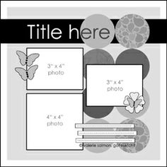 Circles or rounded squares. butterfly or flower, football, coin, earring/medallion.- Scrapbook Layout Sketch