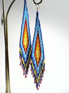 | Shoulder Duster Long Native American Inspired Bugle Bead Earrings ...