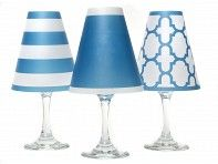Paper shades for wine glasses with battery operated lights.  From The Grommet