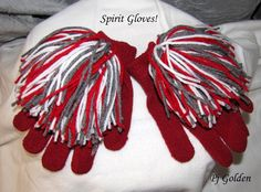 Cheer Gloves Spirit Gloves in Red by TiarellasClutch on Etsy, $6.00 (Diy Shirts For Football Games)