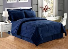 $59. 8 pieces. Good size (94x92 inches)  Grand Linen - Dobby Stripe Comforter Set