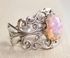 Vintage Silver Fire Opal Ring,harlequin Opal,silver Adjustable Filigree Ring,opal Ring,opal Jewelry,antique,birthstone,fire Opal Ring by hangingbyathread1 - Found on HeartThis.com @HeartThis