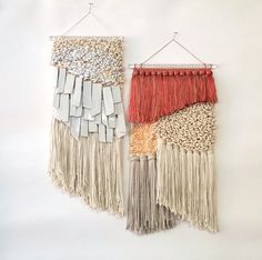 All roads studio weavings Weaving Wall Hanging, Wall Hangings, Acrylic Rod, Textured Yarn, Textiles, Tapestry Weaving, Diy Stuffed Animals, Weaving Techniques, Textile Art