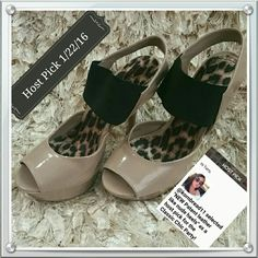 **Host Pick!**NEW Patent leather like nude heels These very attractive shoes are 4 inch heels that can be worn at the office or a night on the town. New shoes without tags. Manmade material. Anne Michelle Shoes Heels