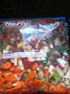 TERIYAKI CHICKEN: Split a large bag of Baby Carrots between the 2 bags, Cut Red Onion into Large Chunks and split between the 2 bags, (1) 20oz can pineapple in each bag (undrained), (2) Garlic Cloves chopped per bag, (2) Chicken Breasts in each bag, 1/2 cup teriyaki sauce in each bag, *Add 1/4 cup teriyaki sauce to mixture. Cook on HIGH for 4 hours or LOW for 8 hours. Serve over Rice.