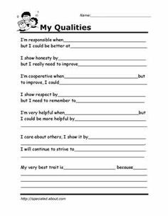 My Qualities - Pinned by @PediaStaff – Please visit http://ht.ly/63sNt for all (hundreds of) our pediatric therapy pins