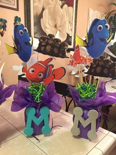 Finding Dory theme party table centerpieces (front side) by: Christina L. Baby Boy 1st Birthday, 2nd Birthday Parties, Birthday Ideas, Birthday Party Centerpieces, Table Centerpieces, Finding Dory, Minnie, Birthdays, Mermaid