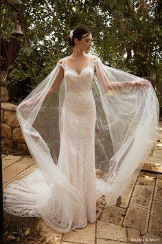 naama anat bridal 2017 cap sleeve sweetheart lace trumpet wedding dress (cape) mv sheer cape train
