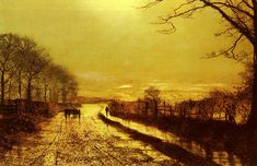 A Wet Road By Moonlight, Wharfedale - John Atkinson Grimshaw - WikiPaintings.org
