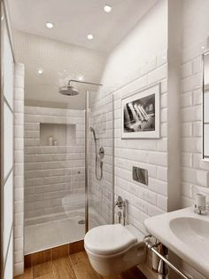 White Subway Tile On White // Small Bathroom, Big Space (white[brick],  Timber Flooring, Chrome Finishes