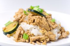 Ground chicken, zucchini, onions and a few staple spices make this quick and easy delicious stir fry. Turkey Chicken, Chicken Zucchini, Zucchini Stir Fry, Healthy Dinner Recipes, Cooking Recipes, Ground Chicken Recipes, Onion Recipes, Teriyaki Chicken, Onions
