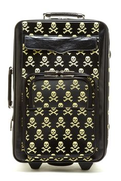 Rebecca Minkoff  Rebecca Minkoff Skull Luggage  For all of your jet-setting ways, a printed luggage piece that's stylish and has personality.   - Top and side handle  - Retractable handle  - Zip around closure  - 3 outer zip pockets  - Printed leather outer  - 2 wheels at bottom  - 3 inner mesh pockets, 1 inner zip povket  - Polka dot lining  $795.00
