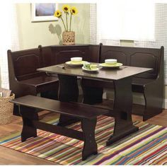 Breakfast Nook 3 Piece Corner Dining Set, Espresso - Walmart.com