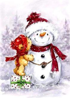 Christmas Scenes, Christmas Pictures, Christmas Snowman, Winter Christmas, Vintage Christmas, Christmas Crafts, Christmas Decorations, Christmas Ornaments, Christmas Kiss