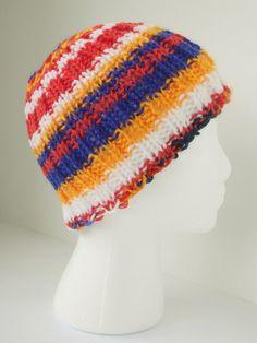 Hand knit toboggan, mandarin sunrise hat, sunrise tobaggan