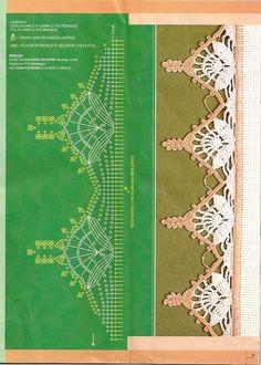 crochet edging with diagram Pattern Crochet Boarders, Crochet Edging Patterns, Crochet Lace Edging, Crochet Motifs, Crochet Diagram, Crochet Chart, Lace Patterns, Thread Crochet, Filet Crochet