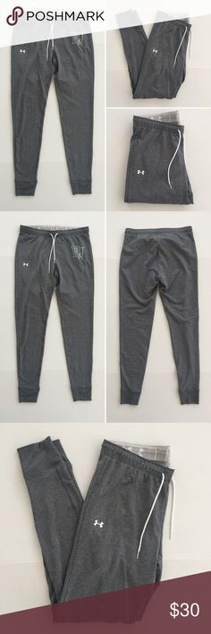 """[Under Armour] women's athletic jogger pants S-M [Under Armour] women's athletic jogger pants S-M •🆕listing •great pre-owned condition •medium dark heather grey with white screen logo (no cracking) and """"HW"""" (some cracking) •elastic drawstring waistband, can be folded over to reveal """"I Will"""" and UA logo •length/inseam 29"""" •may fit S-M, tag size M semi-fitted •material 93% polyester 7% spandex •offers welcomed using the offer/bundle for best discount• Under Armour Pants Track Pants & Joggers"""