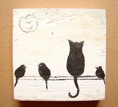 Black and White Home Decor, Office Decor, Nursery Decor-Cat & Birds on a Wire-Acrylic on Upcycled Wood