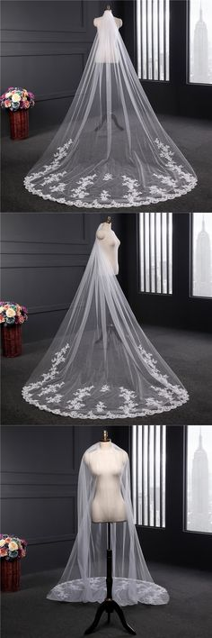2017 Real picture 3 meters One Tiered Lace Long Elegant Wedding Bridal Veil With Comb Lace Edge Wedding Veils