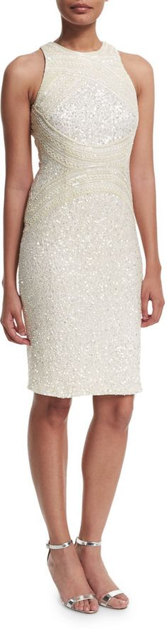 Rachel Gilbert Aubree Embellished Sheath Dress, Ivory - $1,399.00