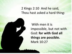 What are you asking from the Lord today? Have you thought of asking Him a hard thing? Remember nothing is too hard for the Lord? How often I neglect my prayer life because I really don't believe that God will answer the hard things in my life. But He will, He does and He wants …