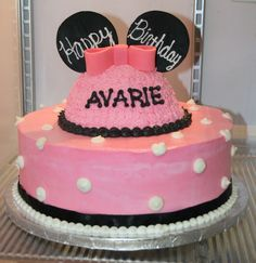 Minnie Mouse cake with removable smash cake - I don't like the theme especially, but I love the idea!