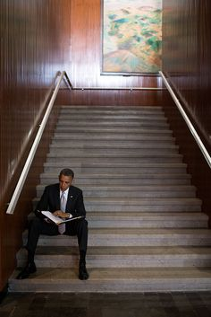 President Barack Obama reviews a document at the Anthropology Museum in Mexico City, Mexico, May 3, 2013.