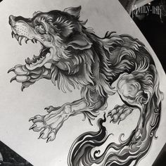 Wolf tattoo design by Family Ink  #wolfdrawing #tattoosketch #wolftattoo…