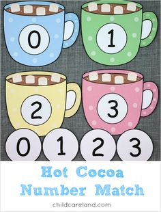hot cocoa number match for preschool and kindergarten Preschool Writing, Numbers Preschool, Preschool Lessons, Number Matching, Matching Games, Montessori Activities, Preschool Activities, Alphabet For Kids, Number Recognition