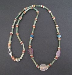 NILE  Ancient Egyptian Rock Crystal and Amethyst Mummy Bead Necklace ca 1000 BC
