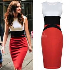 Splicing Color Ladies Red Pencil Evening Slimming Panel Tea Dress