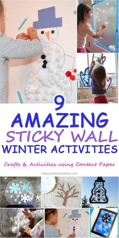 Snowflake Drop 9 Amazing Sticky Wall Winter Activities – HAPPY TODDLER PLAYTIME 9 amazing and fun winter crafts and activities using contact paper! Perfect for babies, toddlers and preschoolers! Winter Activities for Kids Winter Activities For Toddlers, Snow Activities, Winter Crafts For Kids, Winter Fun, Infant Activities, Christmas Activities, Winter Crafts For Preschoolers, Contact Paper Crafts, Contact Paper Art For Toddlers