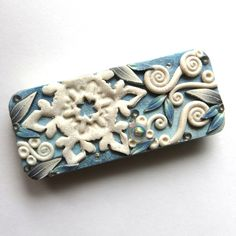 Snowflake Holiday Tin Mixed Media Collectible Polymer Clay Covered Magnetic Needle Case by Claybykim on Etsy