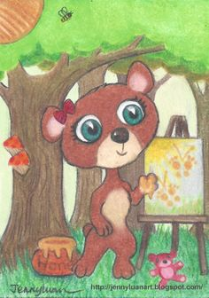 Original ACEO TW May baby animal bear use honey paint butterfly bee P4PMJFF