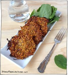 Baked Sweet Potato Pancakes - Whole Food Plant Based Recipe. Vegan, vegetarian, oil free, gluten free, paleo, whole food, delicious easy recipe.