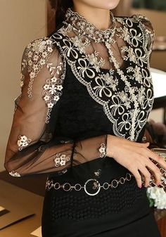 a573c1f5b Black Patchwork Lace Beading Grenadine Band Collar Long Sleeve Elegant  Blouse