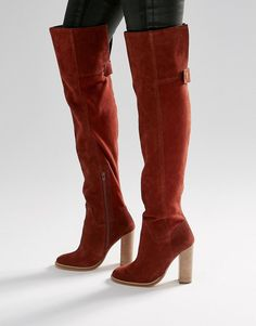 Image 1 ofASOS KEIRA Suede Over The Knee Sock Boots
