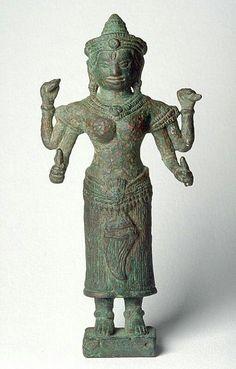 The Hindu deity Lakshmi  Place of Origin:Cambodia  Date:1100-1300  Materials:bronze  Dimensions:H. 5 3/4 in x W. 3 in x D. 1 1/4 in, H. 14.6 cm x . 7.6 cm x D. 3.2 cm