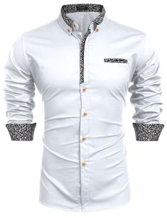 Mens Floral Cotton Printed Slim Fit Casual Inner Contrast Dress Shirt White - Mens Shirts Casual - Ideas of Mens Shirts Casual - Mens Clothing Shirts Casual Button-Down Shirts Mens Floral Cotton Printed Slim Fit Casual Inner Contrast Dress Shirt White Stylish Shirts, Casual Button Down Shirts, Stylish Clothes, Mens Floral Dress Shirts, Men's Dress Shirts, Long Sleeve Shirt Dress, Long Sleeve Shirts, Mens Shirt Pattern, Formal Shirts For Men