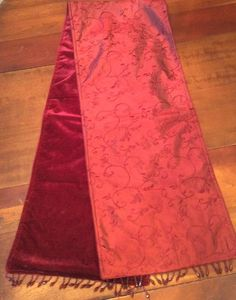 Vintage Maroon Reversible VELVET ANTIQUE SATIN TABLE RUNNER Dining Table Piano  #VIctorian