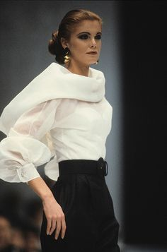 Creme and black are dramatic and elegant. The unusual blouse has lovely sleeves and bodice
